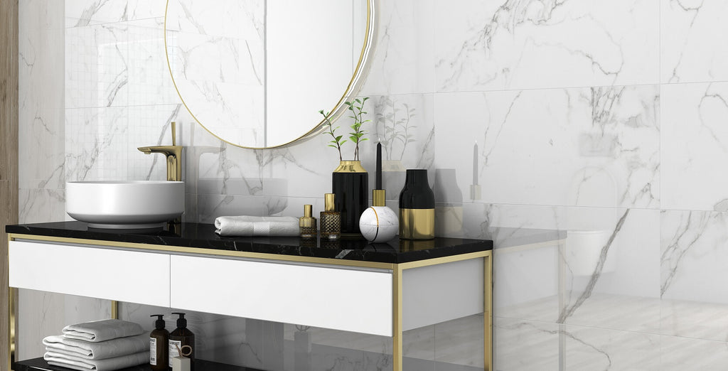 Marble Effect Tiles on Bathroom Wall