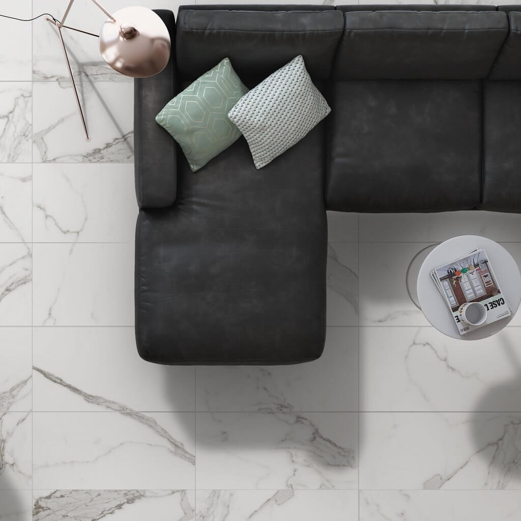 White marble effect porcelain tiles for stunning bathrooms kitchens palatina white marble effect floor tiles with black couch dailygadgetfo Gallery