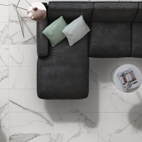 Palatina White Marble Effect Floor Tiles with Black Couch