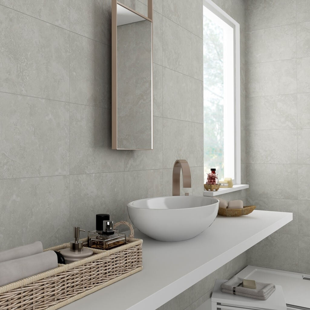 Images of bathroom wall tiles - Rapolano Grey Bathroom Wall Tiles In Stylish Bathroom