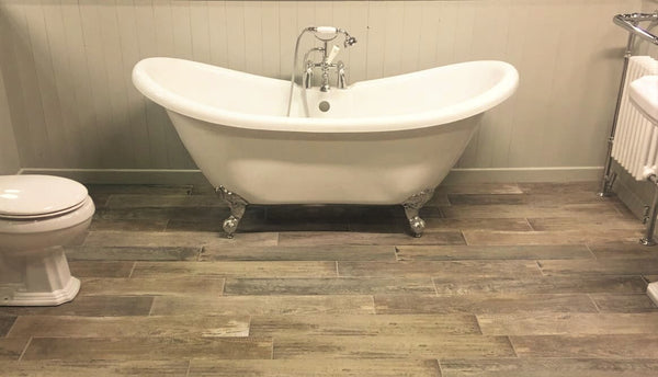 Sail Wood Effect Floor Tiles with Free Standing Bathtub