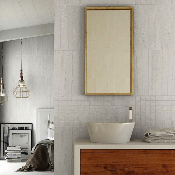 Silverstone Wall Tiles in Modern Bathroom with Handbasin