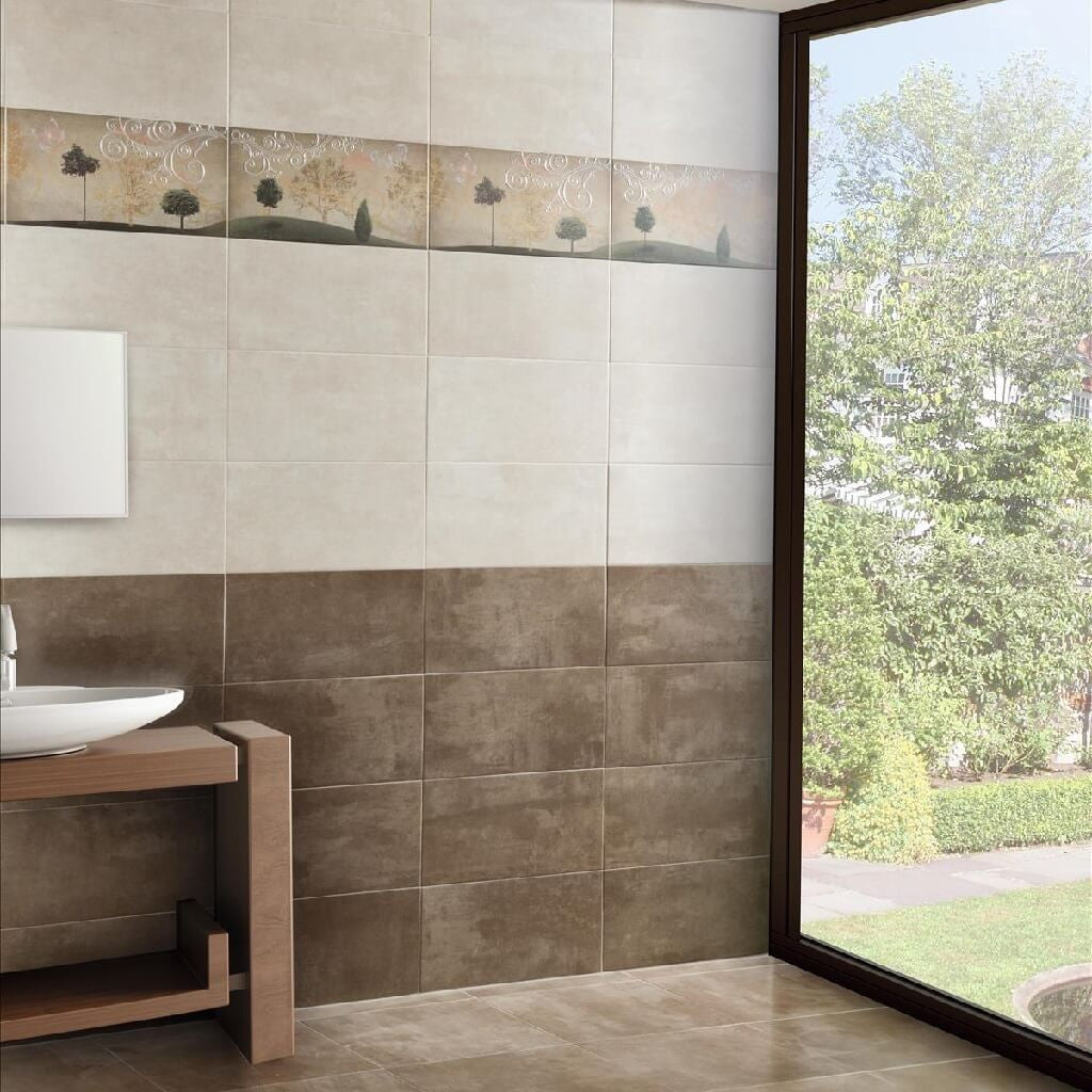Smart Beige And Taupe Wall Tiles In Beautiful Bathroom ...