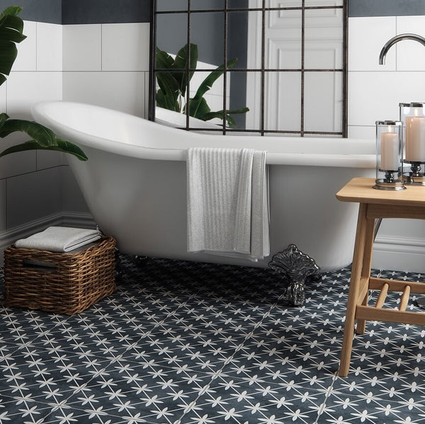 Sofia Black Floor Tiles in Traditional Bathroom