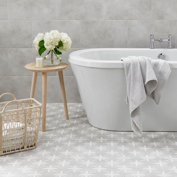 Sofia Grey Bathroom Floor Tiles with Bathtub