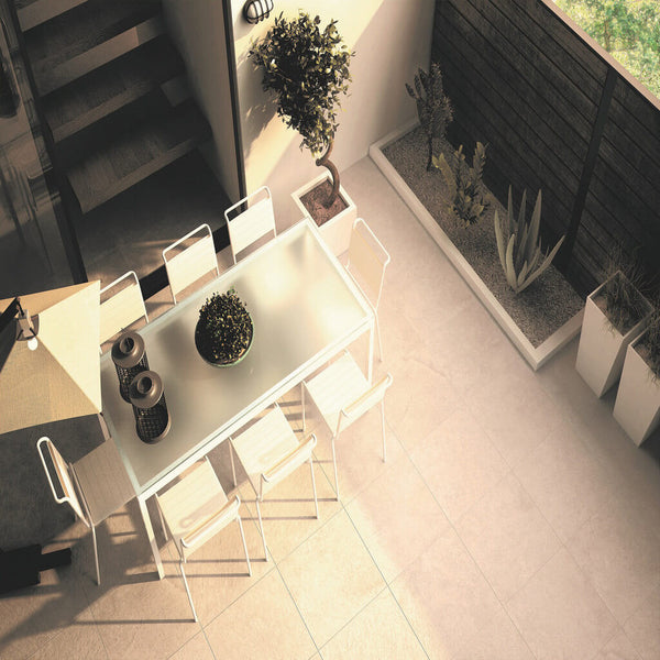 Tabarca Large Marble Effect Tiles on Stunning Patio with Chairs