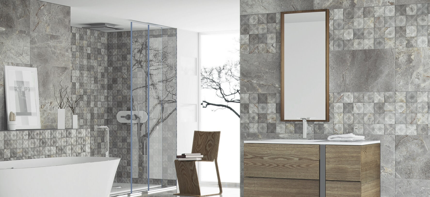 Bathroom Wall Tiles: On-Trend Grey Marble Effect