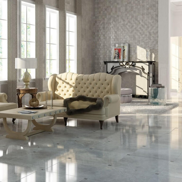 Marble Effect Floor Tiles in Large Living Room