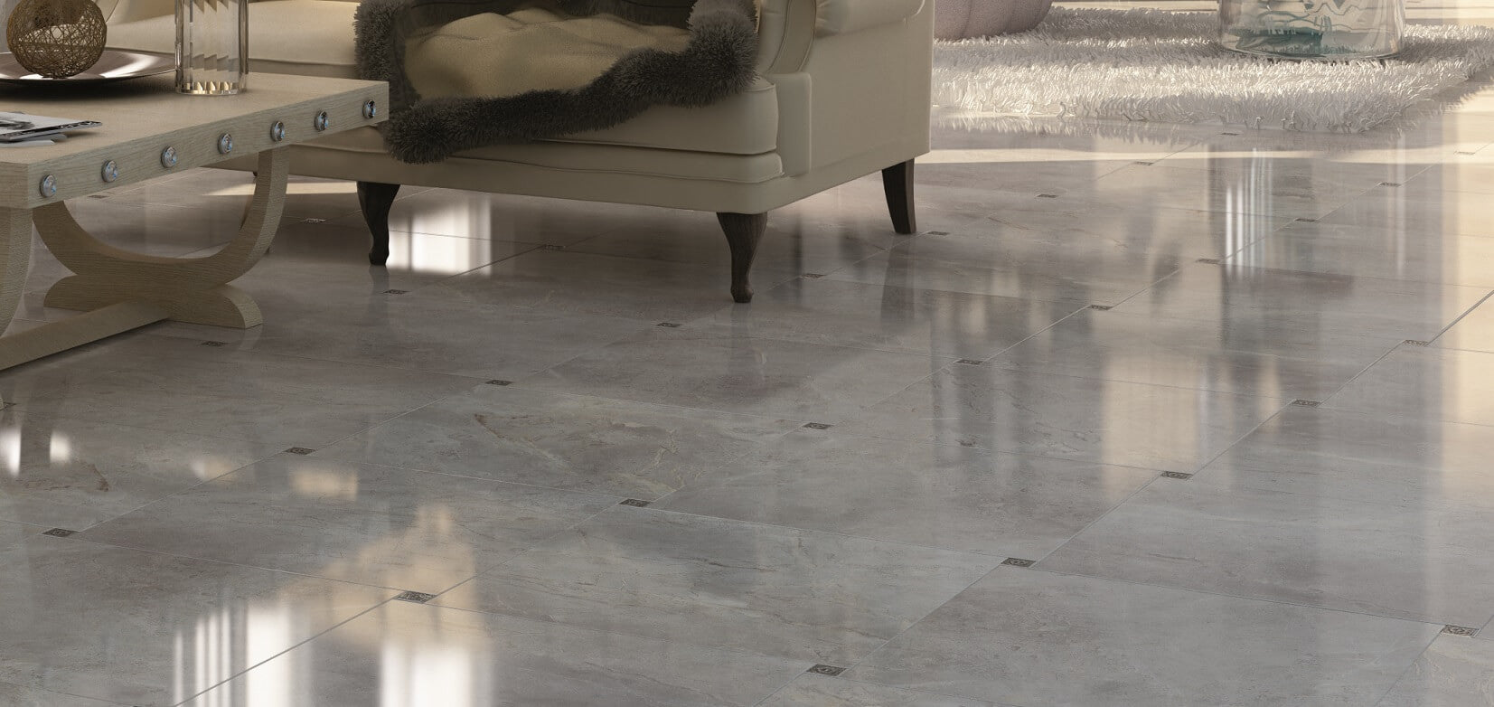 ... Tiffany Large Grey Porcelain Floor Tiles With Cream Couch ...