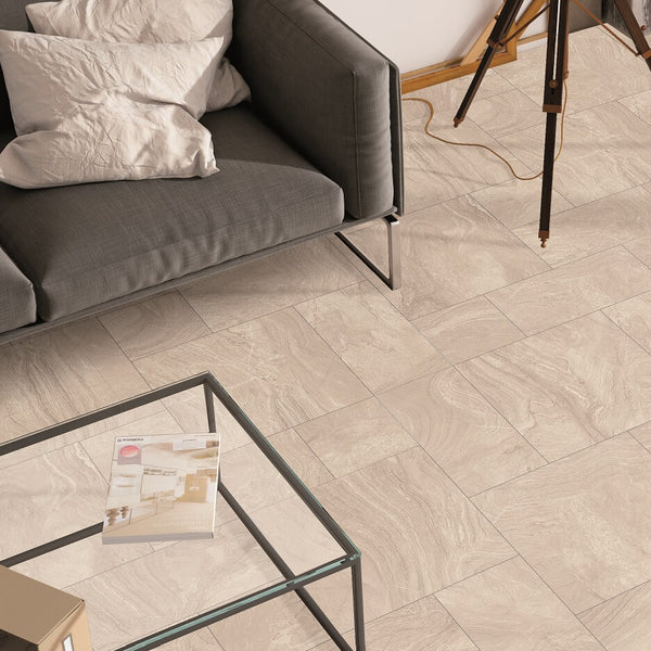 Varana Almond Floor Tiles in Mixed Sizes with Coffee Table