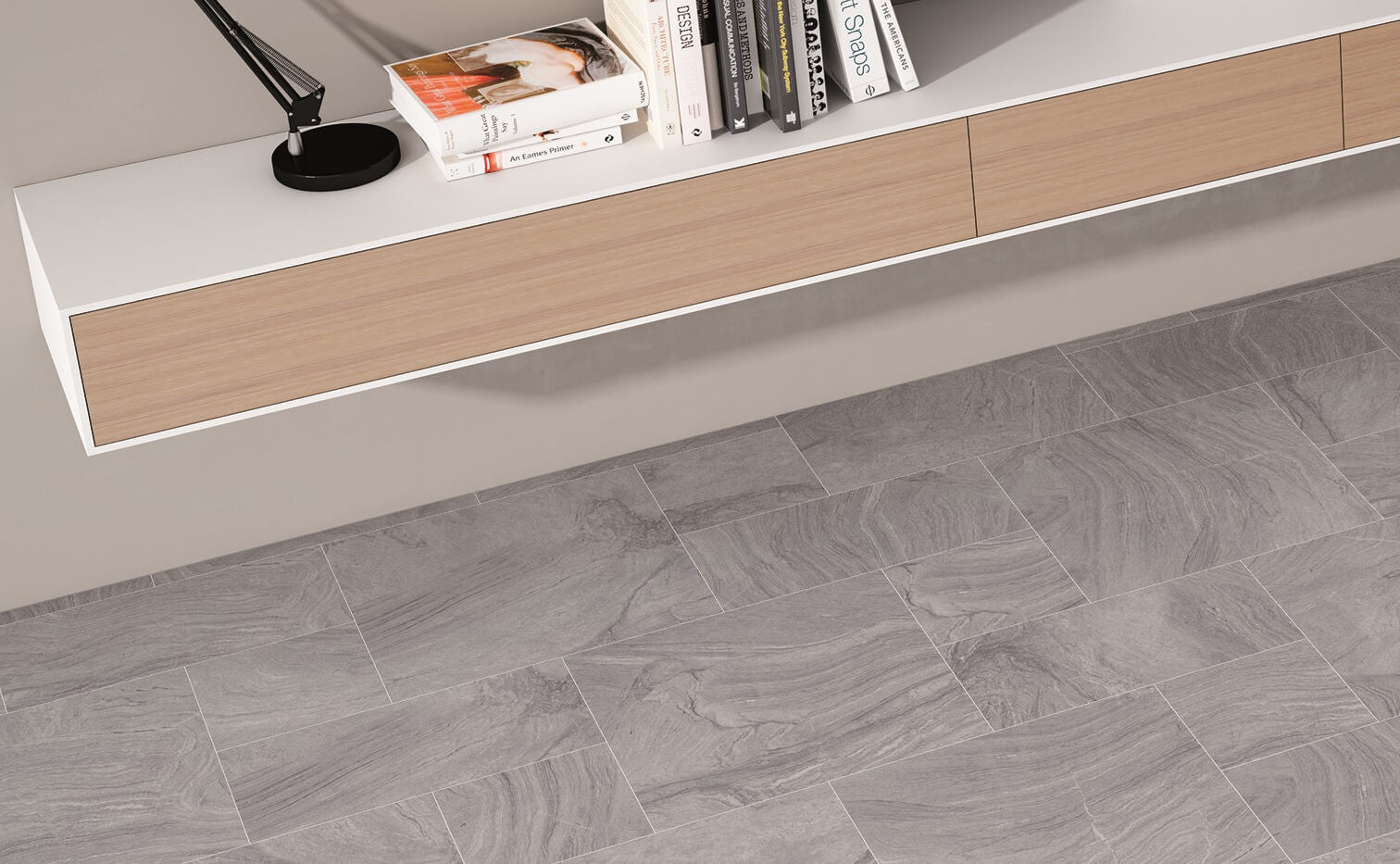 Sandstone effect grey spanish floor tiles by gayafores varana grey sandstone effect floor tiles in mixed sizes with book shelf dailygadgetfo Choice Image