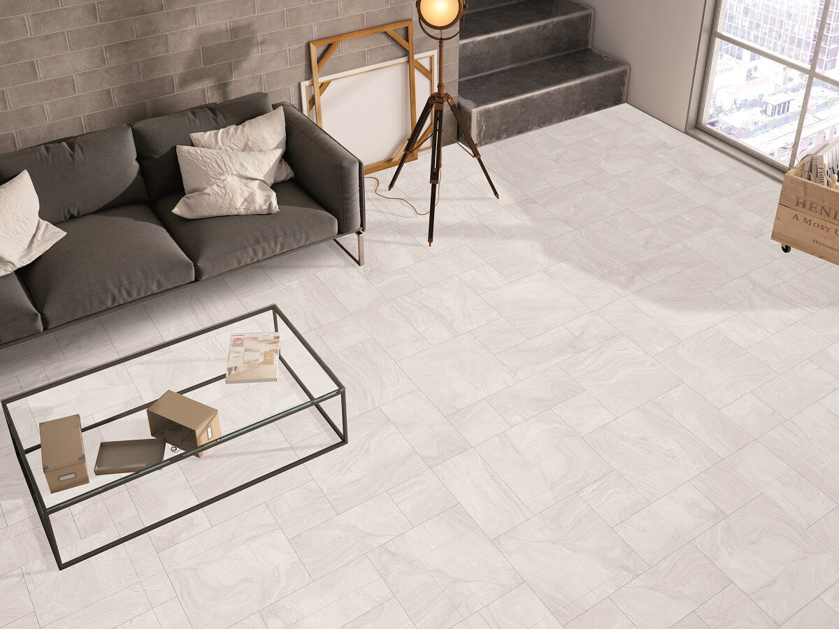 Varana White Floor Tiles In Mixed Sizes Uber Modern High Rise Living Room