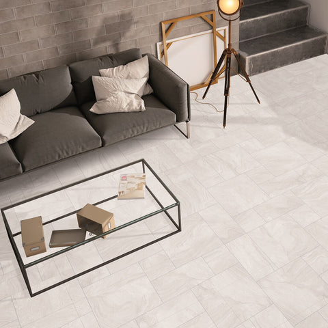 Varana White Floor Tiles in Mixed Sizes in Uber Modern Living Room