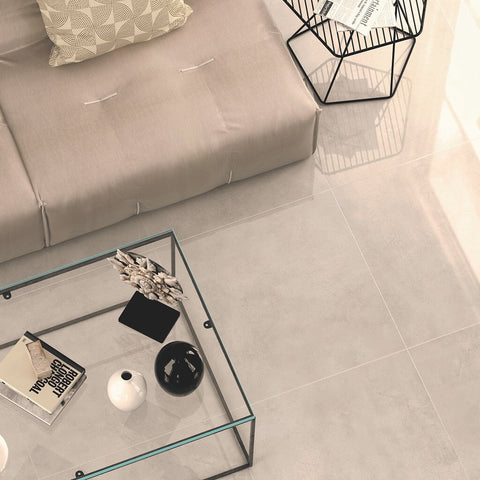 Vista Large Grey Floor Tiles with Couch and Coffee Table