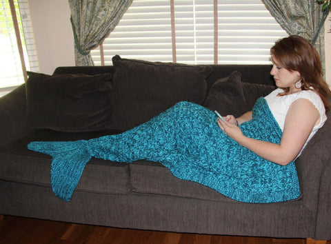 Mermaid Tail Blanket Knitting Pattern Adultteen Size