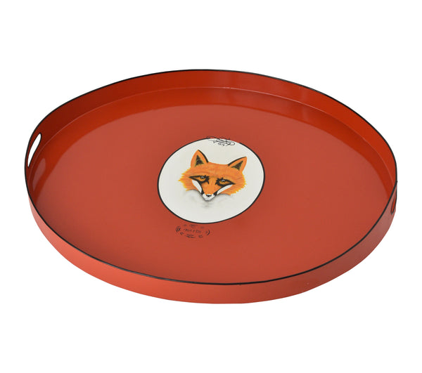 Tole Tray Fox with Red Base