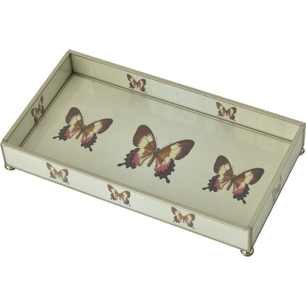 Pink and Tan Butterfly 6 x 12 Tray