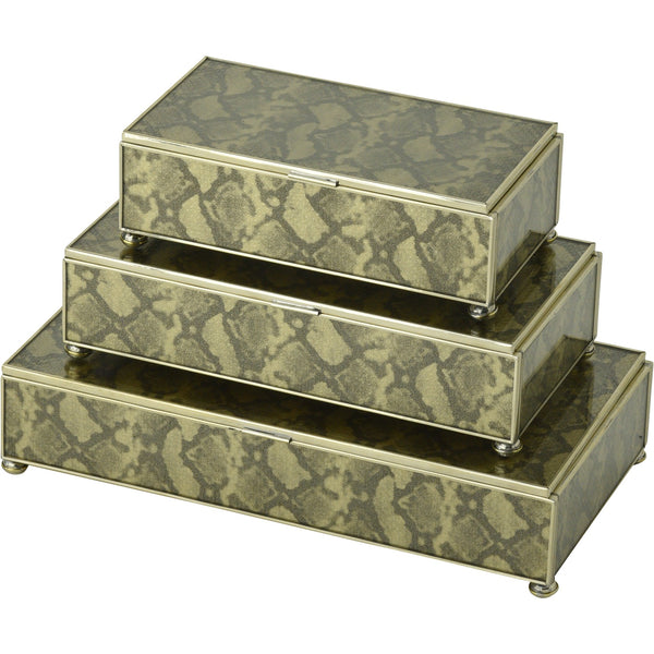 gold python  skin rectangular stacking 3 box set