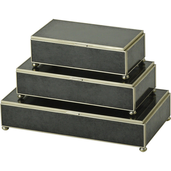 Black Lizard skin rectangular stacking 3 box set