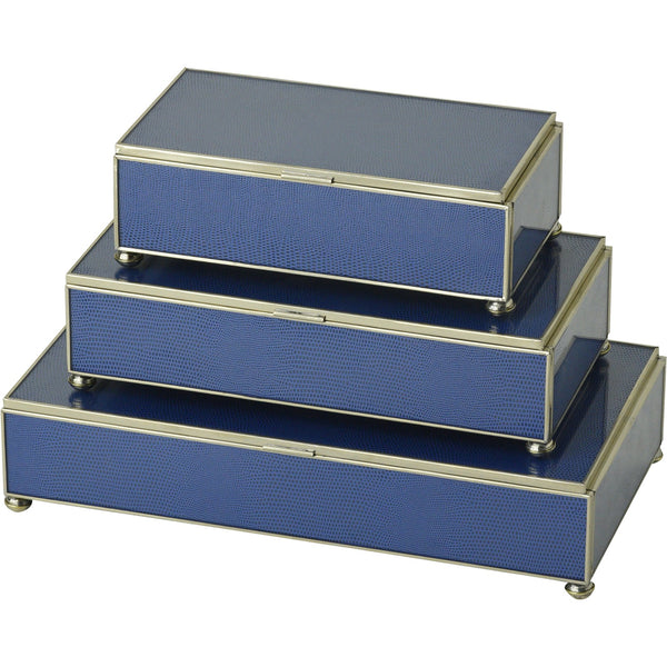 Cobalt Blue Lizard skin rectangular stacking 3 box set