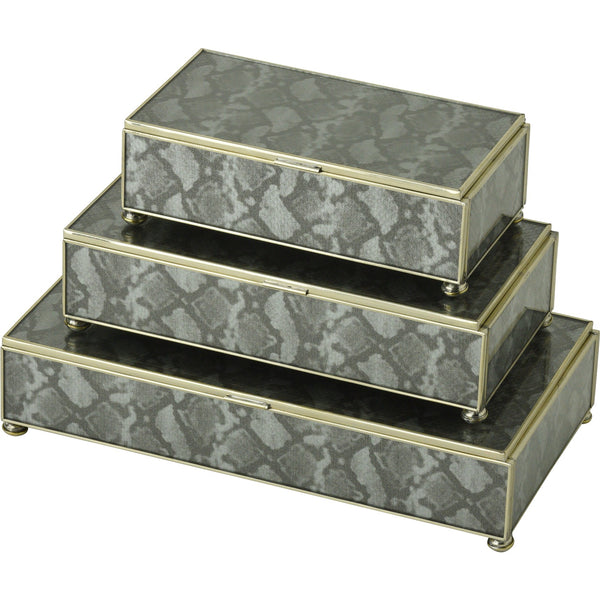 silver python skin rectangular stacking 3 box set