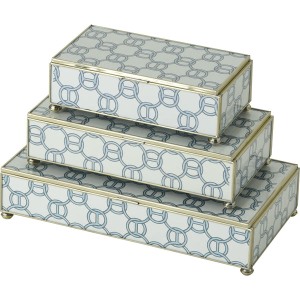 Blue Chain rectangular stacking 3 box set