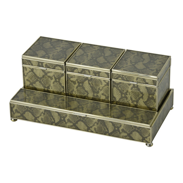 gold python  skin Three box vanity set