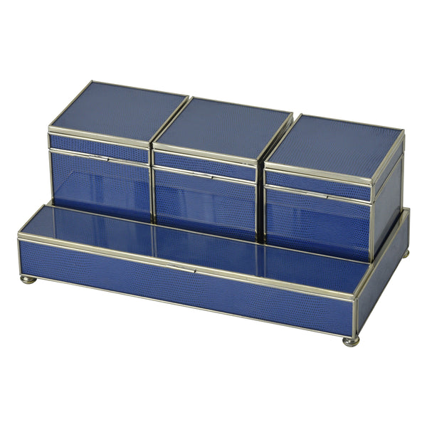 Cobalt Blue Lizard skin Three box vanity set