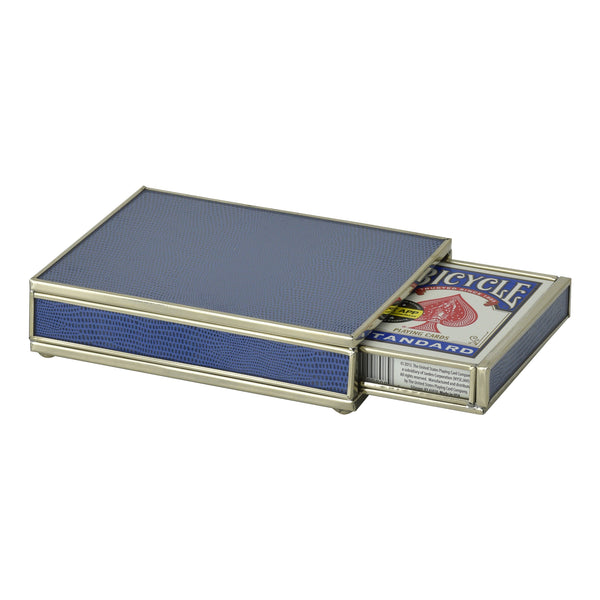 cobalt Blue Lizard skin card box