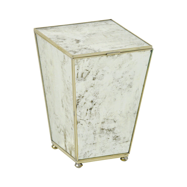 Antique Mirror Waste Bin with Top