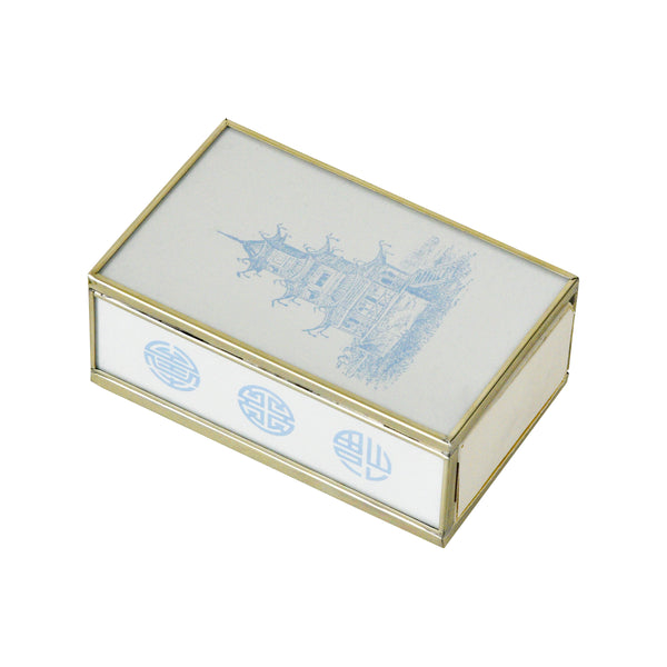 Blue Pagoda Matchbox Cover