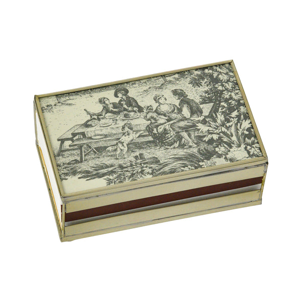 Black toile matchbox cover
