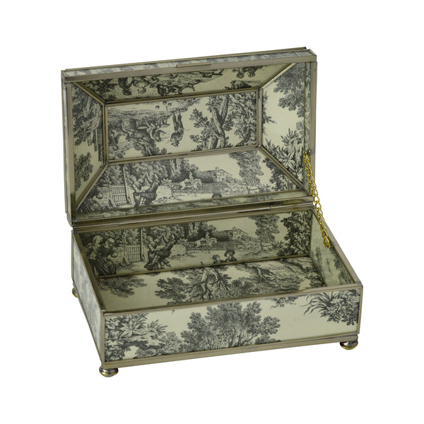 Black Toile Mini Tea Box