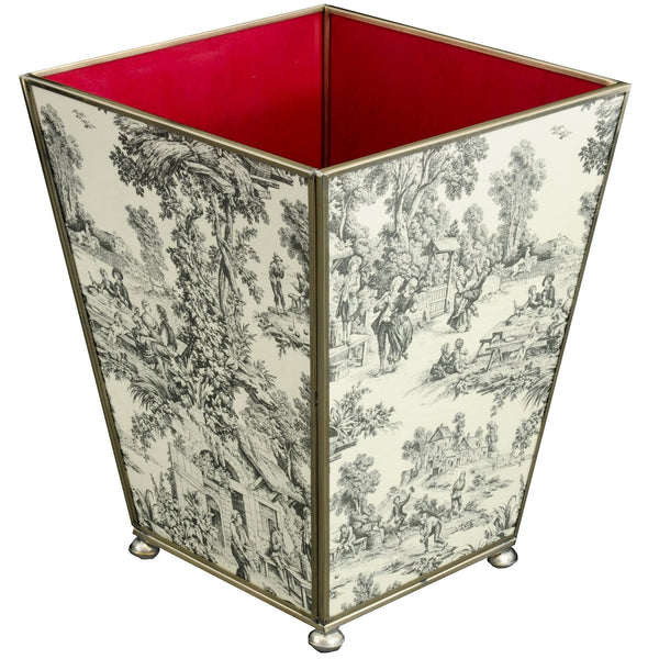 Black Toile waste bin