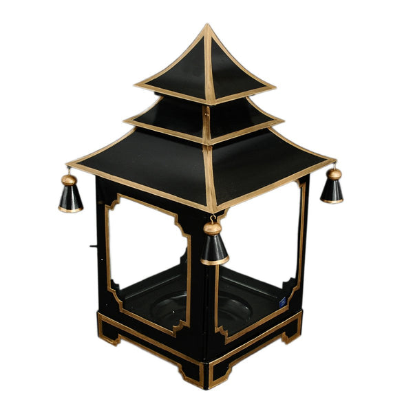 Small candle Pagoda Black and Gold