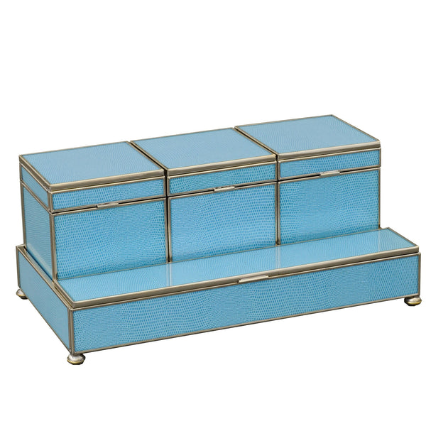 blue lizard skin Three box vanity set