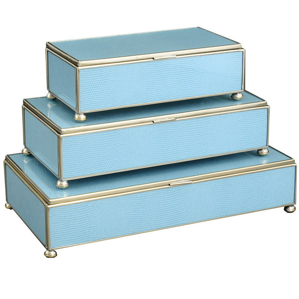 blue lizard skin rectangular stacking 3 box set