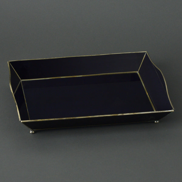 Cobalt Curved Glass Tray