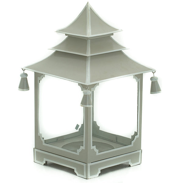 Small candle pagoda gray with white trim