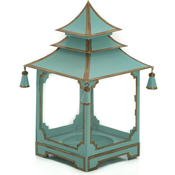 Small candle Pagoda Parisian Blue and Gold
