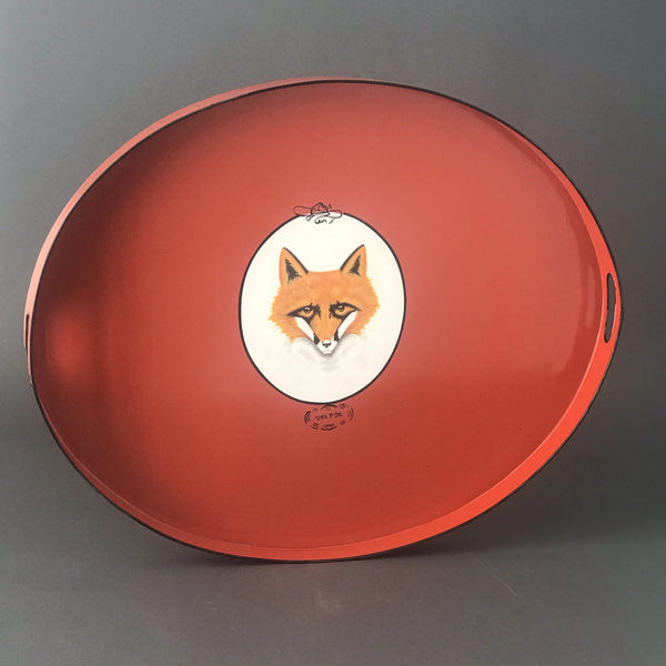 Scratch and Ding Red Fox Tole Tray