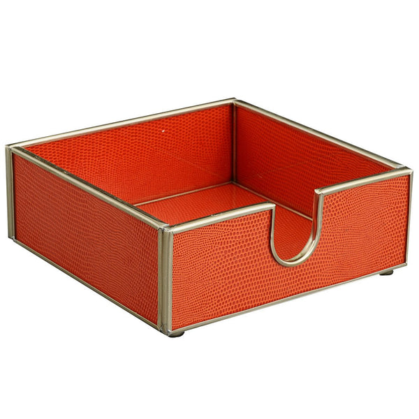 orange lizard skin cocktail napkin holder