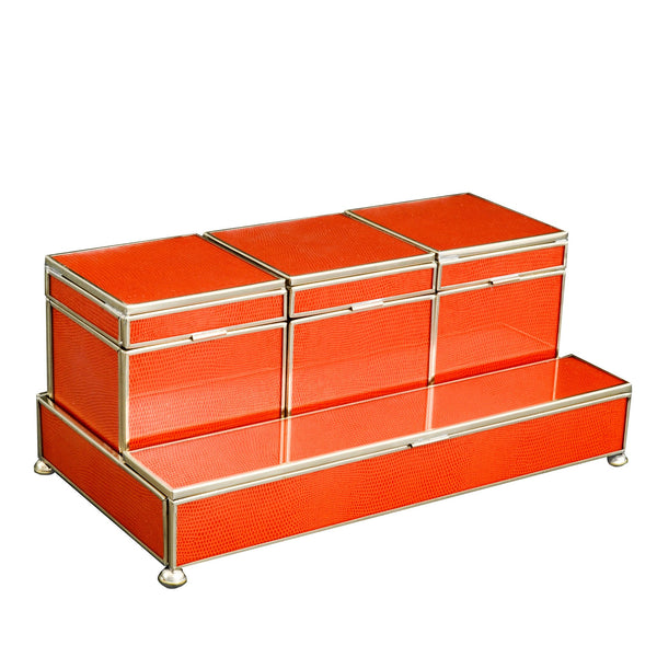 orange lizard skin Three box vanity set