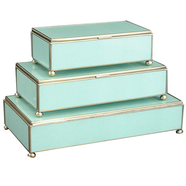 Sea Foam rectangular stacking 3 box set