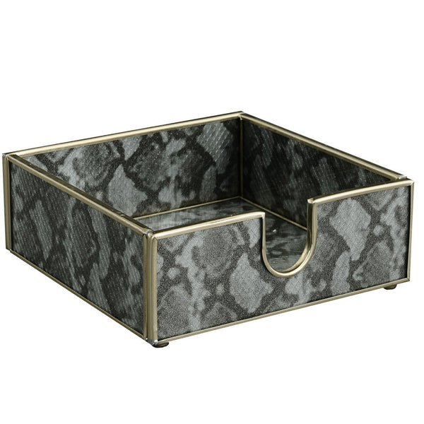 silver python skin cocktail napkin holder