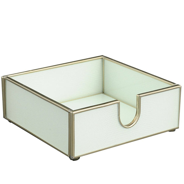 white lizard skin cocktail napkin holder