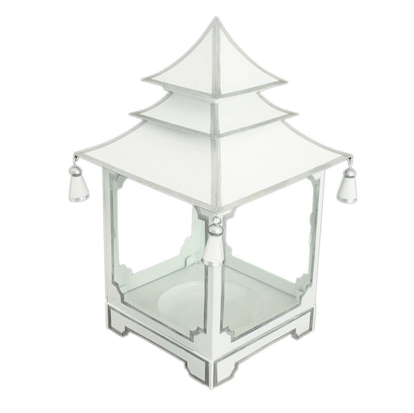 Small  candle pagoda white with silver trim