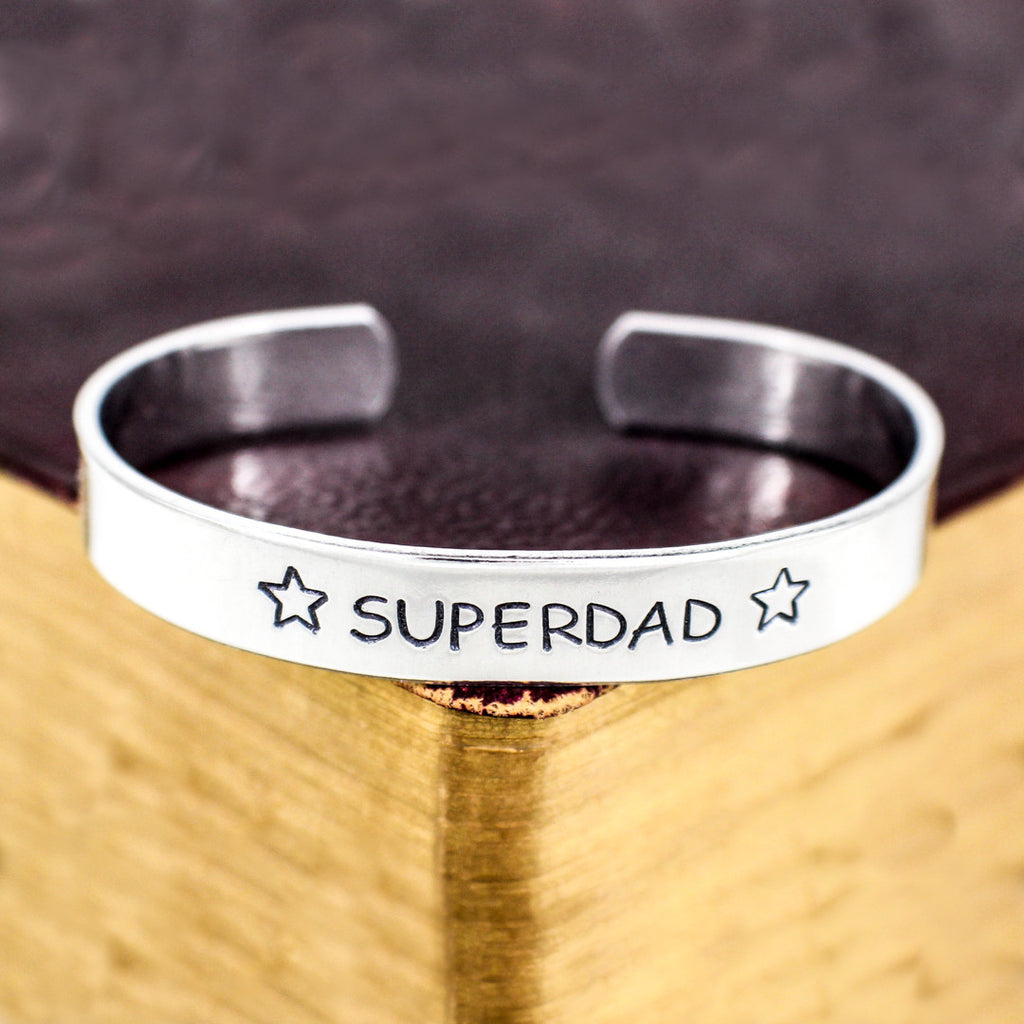Super Dad Bracelet - Father's Day - Gift for Dads - Aluminum Cuff Bracelet