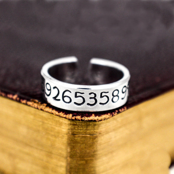 Pi Ring - Math Gift - Pi Day - Adjustable Aluminum Ring - It Came From the Internet