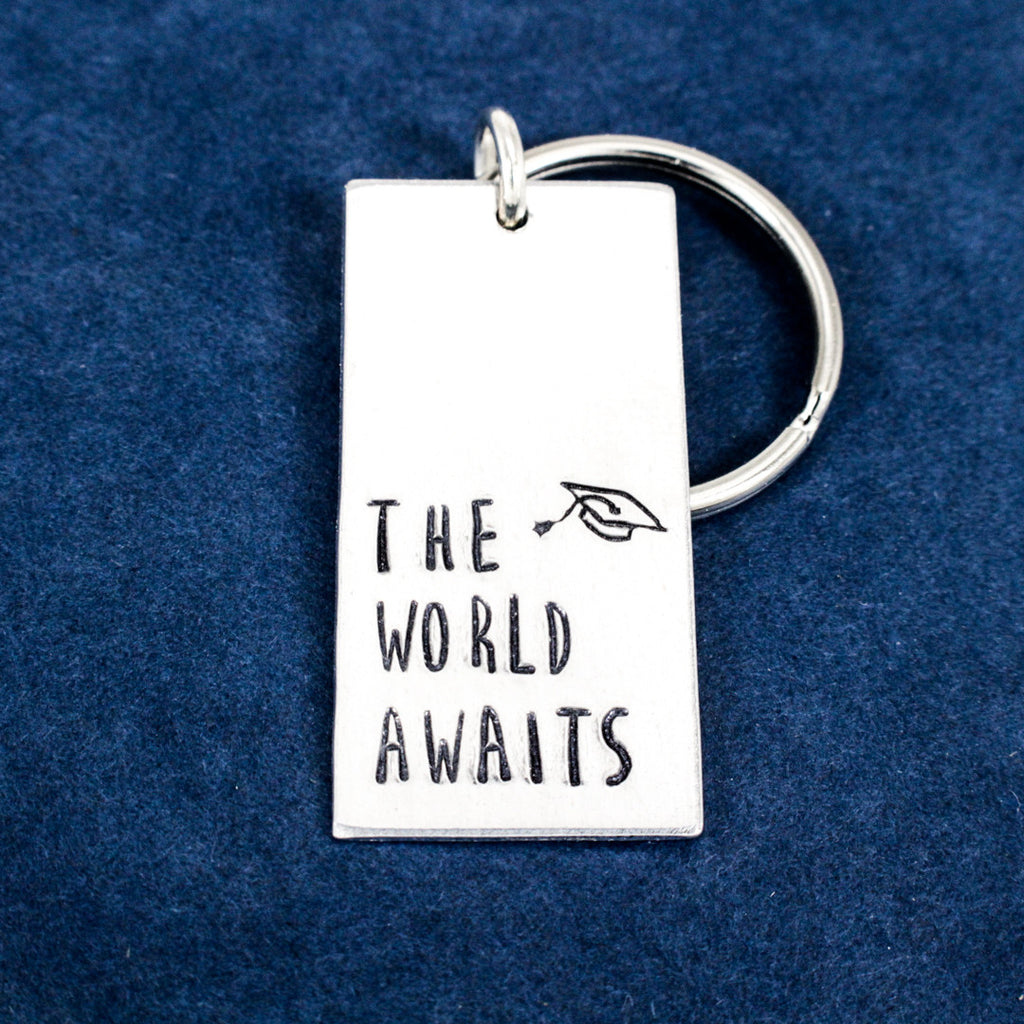 The World Awaits - Graduation Gifts - Class of 2018 - Aluminum Key Chain